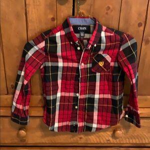 Adorable EUC Chaps shirt, red/black plaid, sz 7